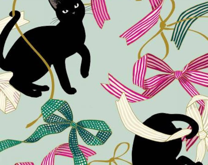 Quiltgate Fabrics - Hakka Ryoran Neko 4 - Cats & Ribbon - Light Teal - Metallic Cotton Woven Fabric from Japan
