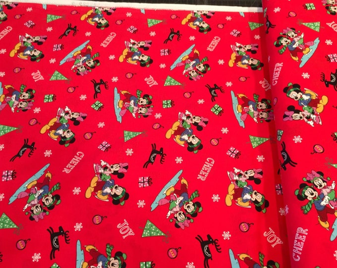 Springs Creative - Licensed Disney's Mickey and Friends Christmas on Red Cotton Woven Fabric