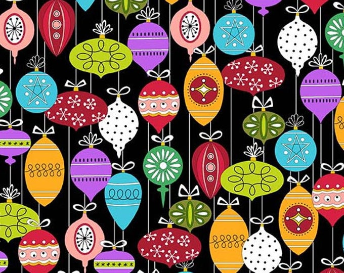 Andover Fabric - Holiday Tweets -  Ornaments on Black Cotton Woven Fabric
