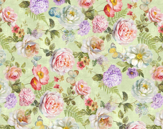 Wilmington Fabrics - Butterfly Haven by Danhui Nai - Green Large Floral  #89200-737 Cotton Woven Fabric
