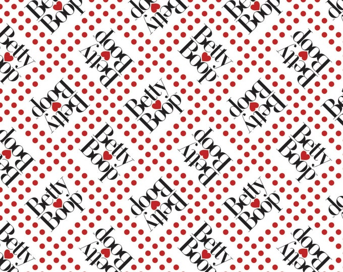 Camelot Fabric - Licensed Betty Boop - White Betty Boop Dots Licensed Cotton Woven Fabric # 45100305-1