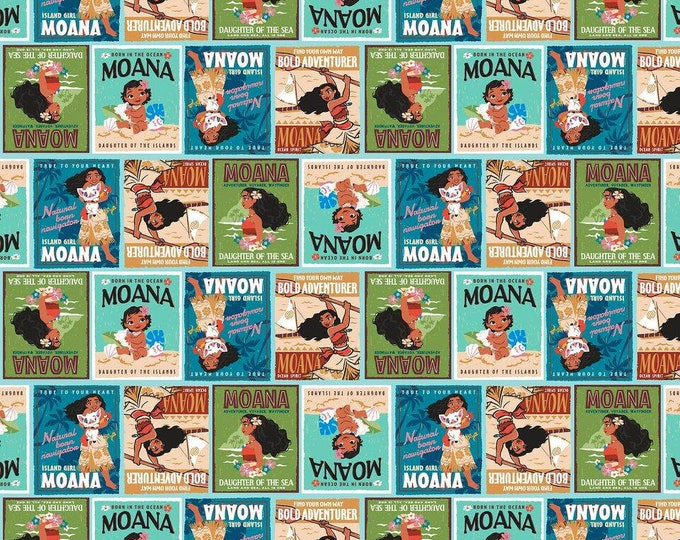 Springs Creative - Licensed Disney Moana Badges Cotton Woven Fabric