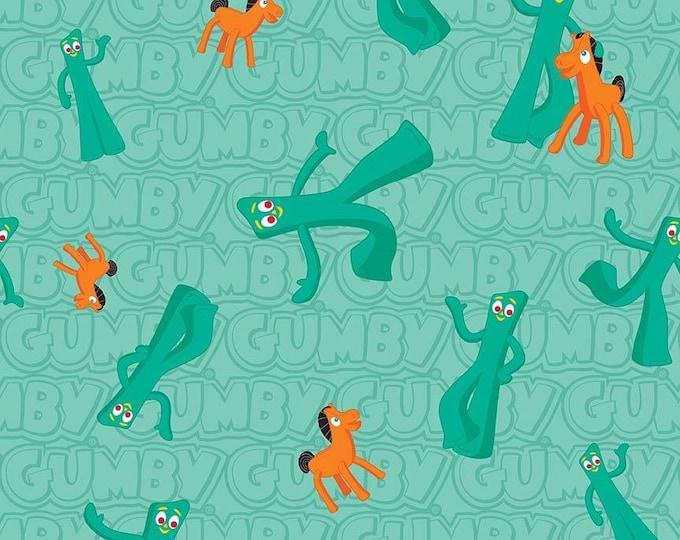 Riley Blake Fabrics - Licensed Gumby & Pokey - Gumby and Pokey Characters Main on Aqua cotton woven fabric