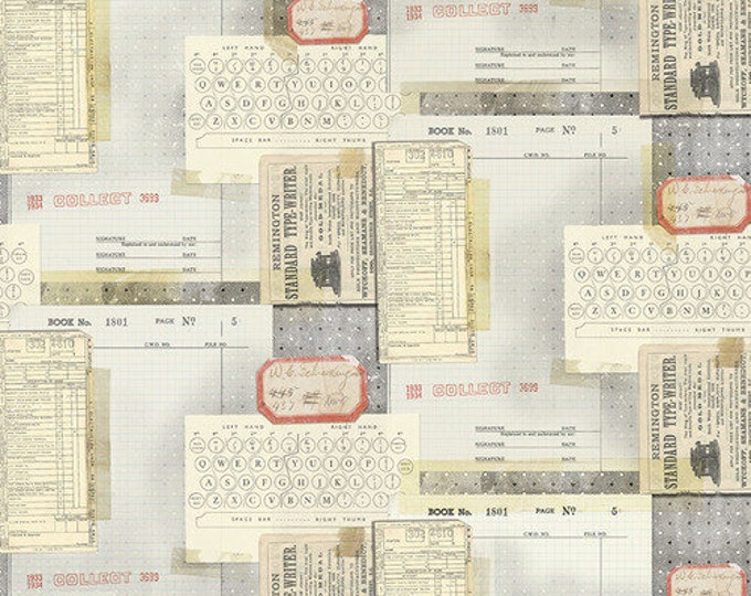 Free Spirit Fabric - Tim Holtz Eclectic Elements Memoranda - Typewriter PWTH095.MULTI Cotton Woven Fabric
