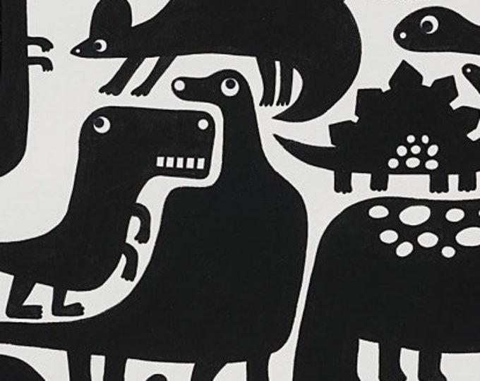 Alexander Henry Fabric - Dino-Mite - Tea & Black - Cotton Woven Fabric