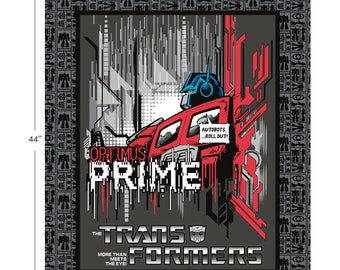 "Camelot Fabrics - Licensed Transformers - Optimus Prime 36"" Panel in Carbon Cotton Woven Fabric"
