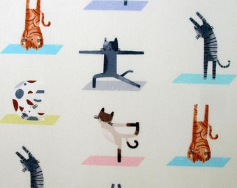CLEARANCE - Timeless Treasures - Yoga Cats on Foam cotton woven fabric - 1 yard Price