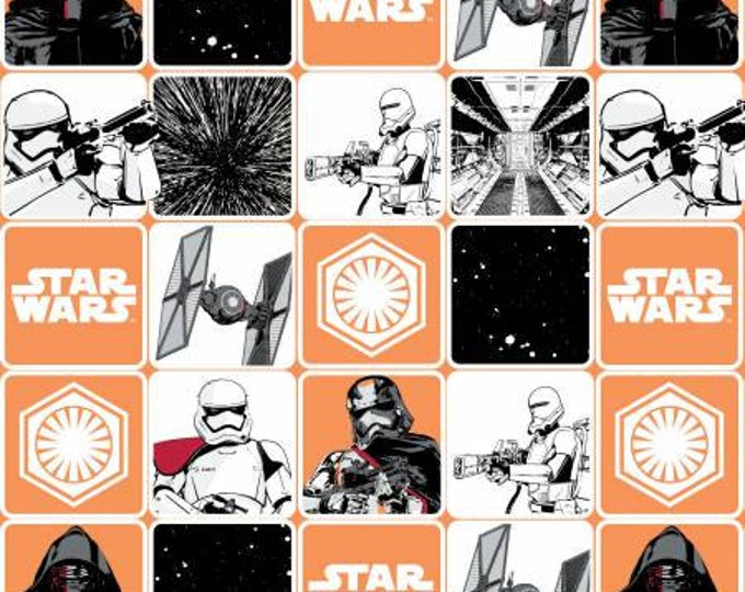 Camelot Fabric -  Star Wars, The Force Awakens - Orange  Grid Cotton Woven Fabric