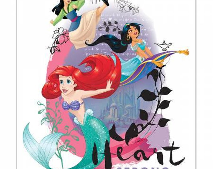 Heart Strong 36 Inch Cotton Woven Fabric Panel - Disney Princesses by Camelot