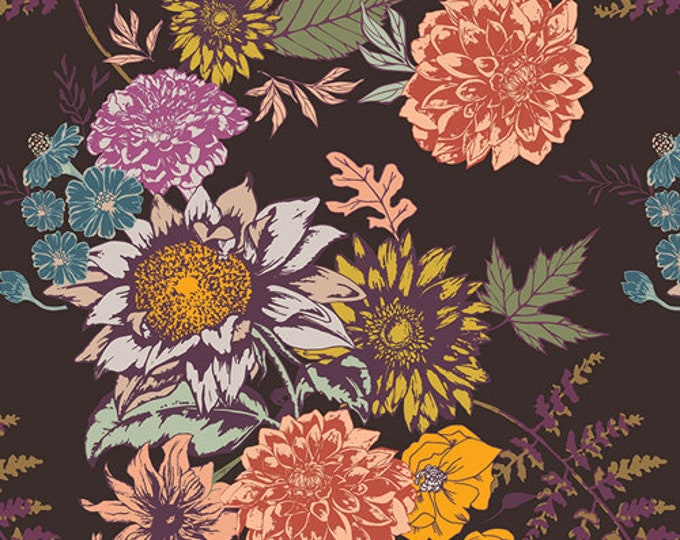 Art Gallery Fabrics - Autumn Vibes - Floral Glow - Cocoa -  Cotton Woven Fabric - Maureen Cracknell