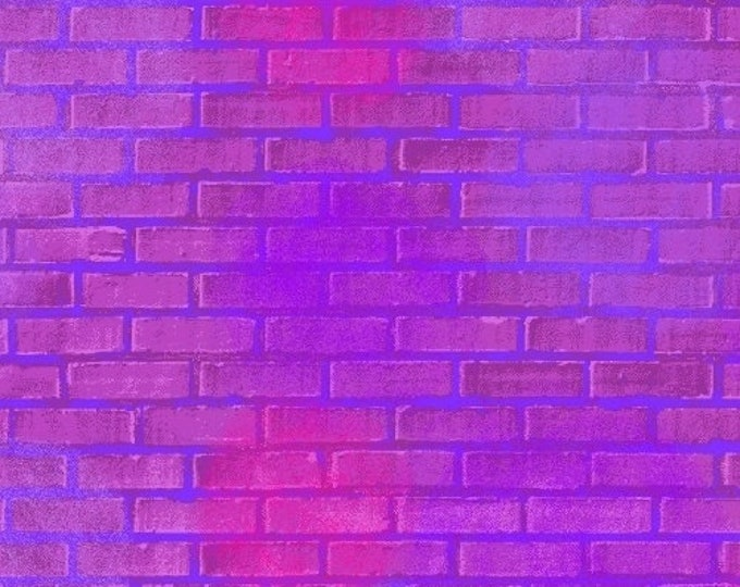 Windham Fabrics - Unstoppable by Whistler Studios - Magenta Painted Brick 51504-3 - Cotton Woven Fabric