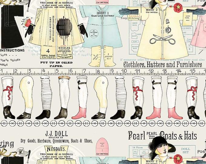 Riley Blake Fabrics - Paperdoll by  J Wecker Frisch - Off White Stripe - Cotton Woven Fabric