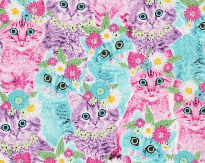 Timeless Treasures - Cats in Flower Crowns Cat #C6991-Multi Cotton Woven Fabric