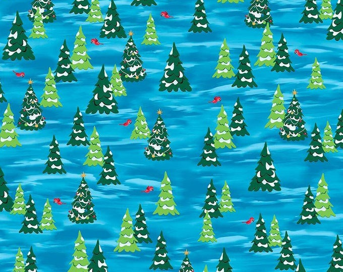 Quilting Treasures - Everyone's Favorite Snowman and Rudolph - Trees Cotton Woven Fabric