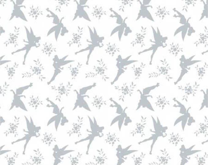Camelot Fabrics - Disney's Peter Pan, Tinkerbell, Silhouette Light Gray cotton woven