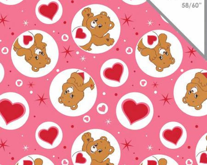 Camelot Fabric - Licensed Care Bears - Tenderheart Bear on Pink Cotton Lycra Knit fabric Fabric