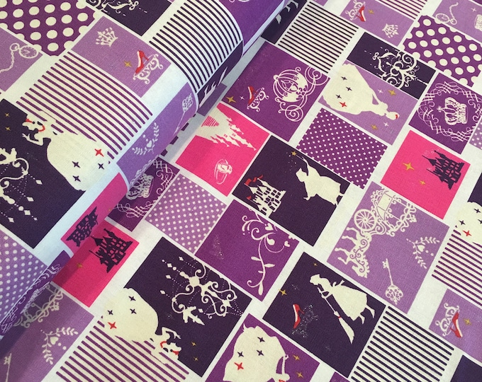 LECIEN - Princess Purple Blocks Lightweight Cotton Canvas - One Yard Increments