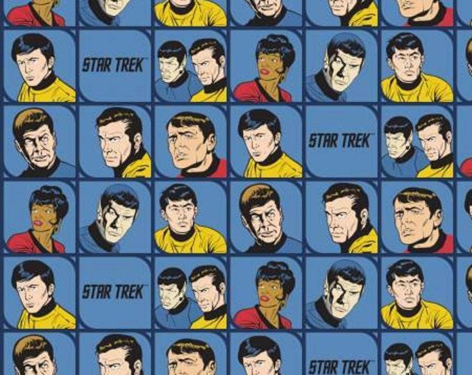 Camelot Fabrics - Star Trek - Blue Star Trek Characters In Blocks Cotton Woven Fabric