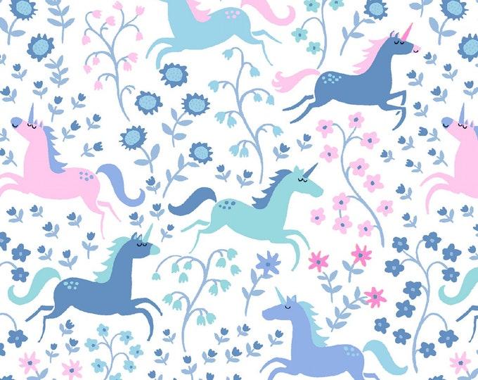 Dear Stella Fabric - Avalon - White Unicorn Romp # ST-1064WHT Cotton Woven Fabric