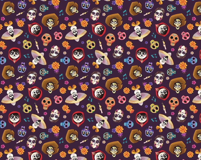 Disney's Pixar Coco and Friends Head Toss Cotton Woven Fabric