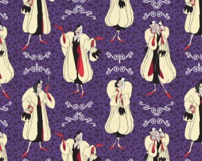 Camelot Fabrics - Disney's Evil Queens -  Cruella Deville on Amethyst Purple of 101 Dalmations Cotton Woven Fabric