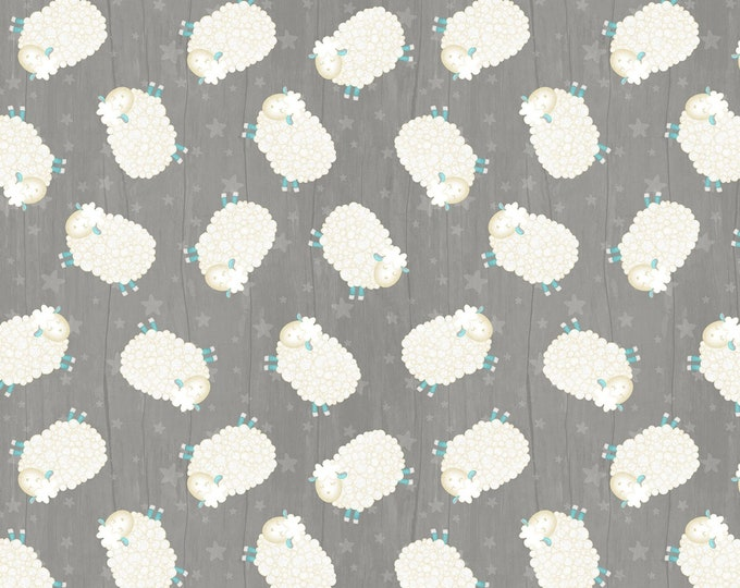 Wilmington Prints -  All Our Stars by Jennifer Pugh - Dark Grey Tossed Sheep # 82581-914 - Cotton Woven Fabric