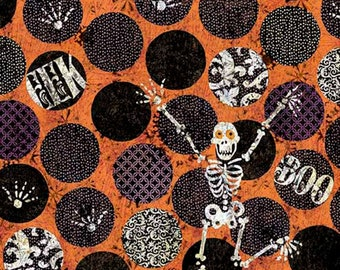 Springs Creative - Halloween by Kate Ward Thacker - Skeleton Dot # 46923B770715 - Cotton Woven Fabric