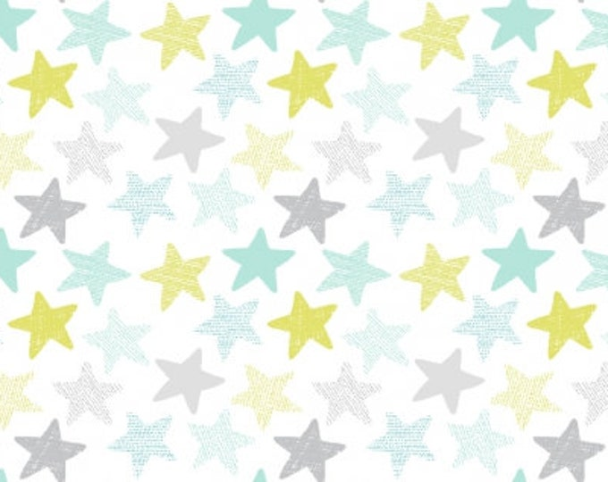 Dear Stella Fabrics - Wide Awake - White Stars Stella-1152 Cotton Woven Fabric