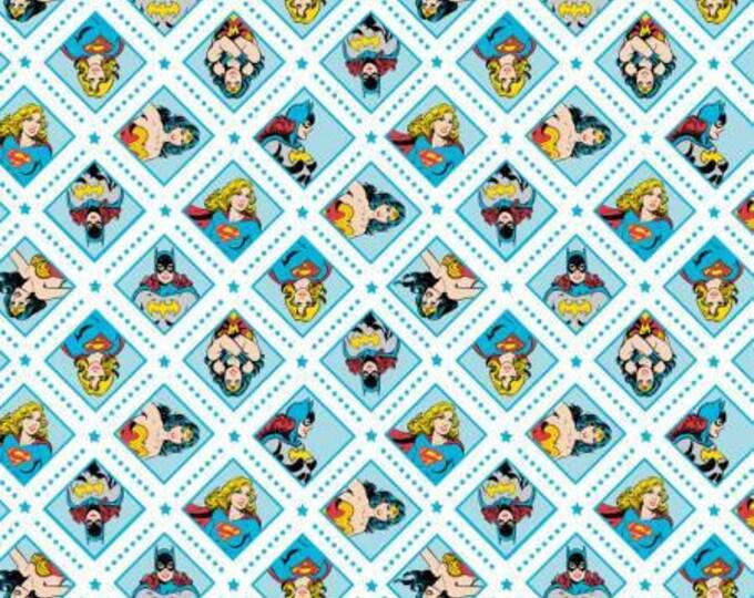 Camelot Fabrics - DC Comics -  Super Women on Topaz, Wonder Woman, Super Girl, and Bat Girl Cotton Woven fabric