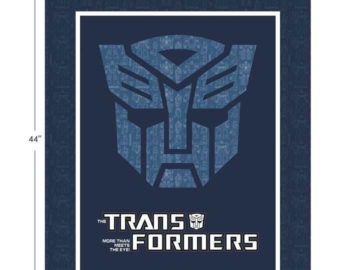 """Camelot Fabrics - Licensed Transformers - 36"""" Panel Autobot Shield in Dark Blue Cotton Woven Fabric"""