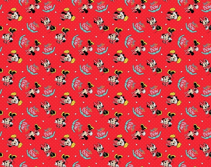 Springs Creative - Disney Minnie Mouse Go with the Bow cotton Lycra Knit fabric