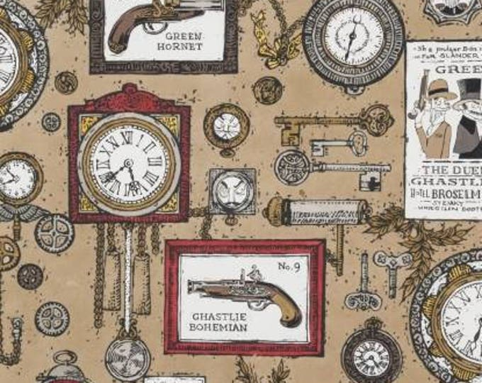 Alexander Henry Fabric - A Ghastlie Duel, Taupe cotton woven fabric