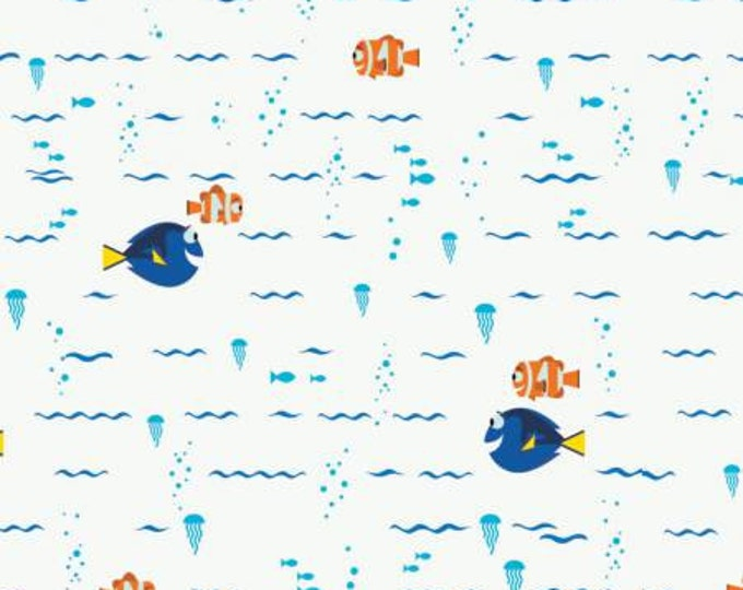 Camelot Fabrics - Finding Dory - White Disney Finding Dory Swimming Cotton Woven Fabric