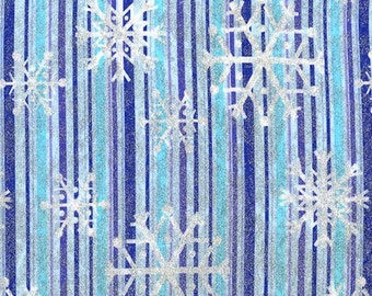 Michael Miller Blue Snowflake Stripe Metallic Cotton Woven