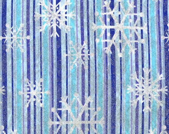 Michael Miller Blue Snowflake Stripe Metallic Cotton Woven