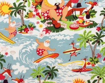 Alexander Henry Fabric - Bright Surfing Santa  7450A Cotton Woven Fabric
