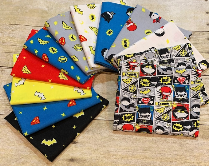 """Camelot Fabrics - Licensed DC Justice League Superheroes in the Making - Bundle of 12 Prints Fat Quarters  (18"""" x 22"""") - Cotton Woven Fabric"""
