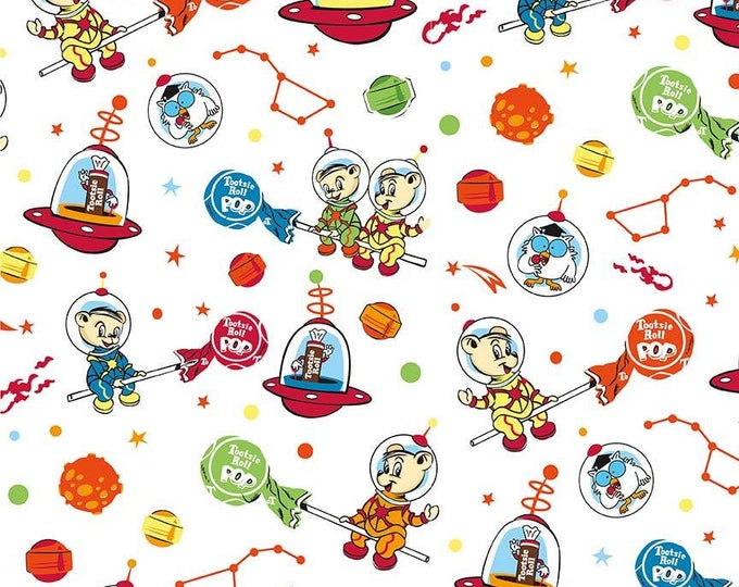 Tootsie Roll Main on White cotton woven fabric by Riley Blake