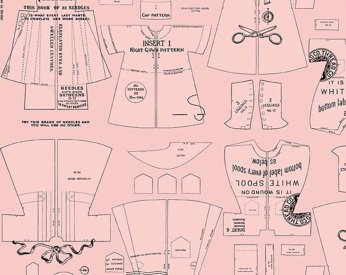 Riley Blake Fabrics - Paperdoll by  J Wecker Frisch - Pink Clothes Patterns - Cotton Woven Fabric