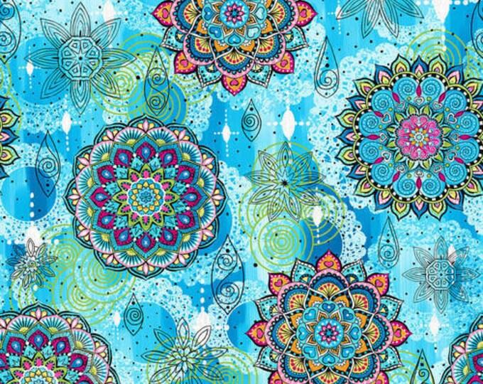 Blank Quilting - Mandala Tango - Blue Mandala #B-9647-70 Cotton Woven Fabric