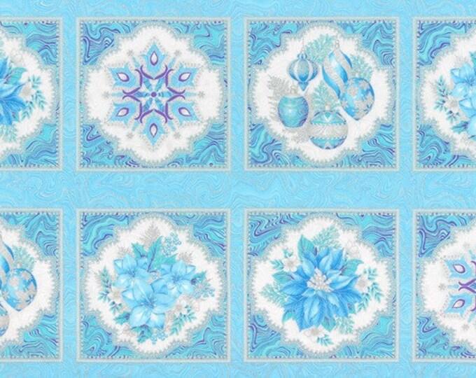 Robert Kaufman Fabric - Holiday Flourish - Peacock Poinsettia w/Metallic 24in Panel - APTM-17334-78 -  Metallic Cotton Woven Fabric