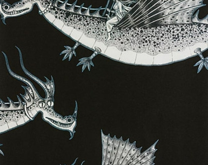 Alexander Henry- In the Clouds - Black - Cotton Woven Fabric
