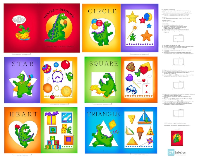 """Quilting Treasures - Sew N Go IX - Dexter the Dinosaur Learns about Shapes 27279 X - 36"""" Panel - Cotton Woven Fabric"""