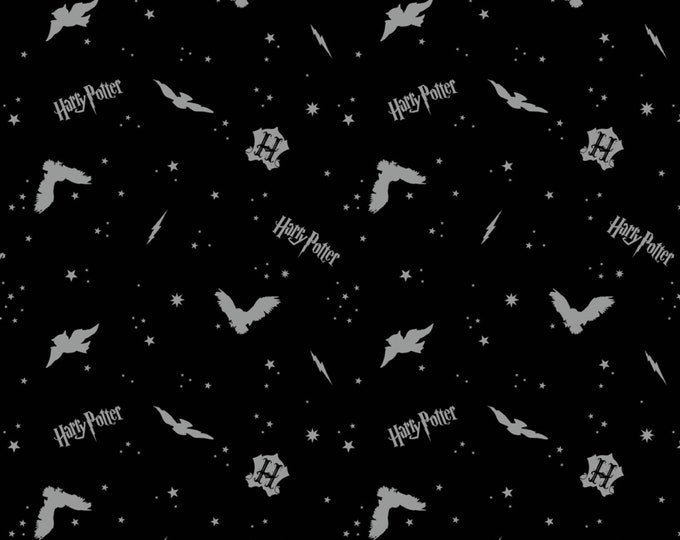 Black In the Night Sky Assets w/Metallic on Flannel #23800129BL-2 -  Licensed JK Rowlings Harry Potter 100% Cotton Flannel by Camelot