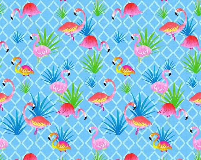 Timeless Treasures - Summer Vibes - Blue Flamingo's # C7446-BLU - Cotton Woven Fabric