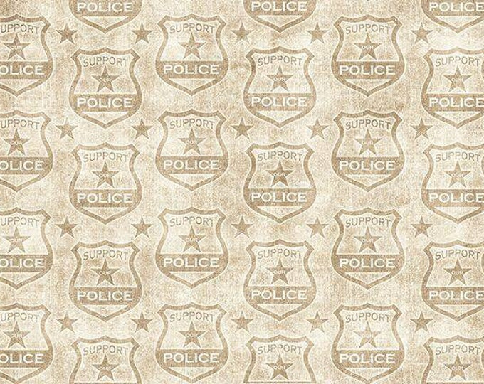 Quilting Treasures - Protect and Serve, tonal Shields Ecru Cotton Woven