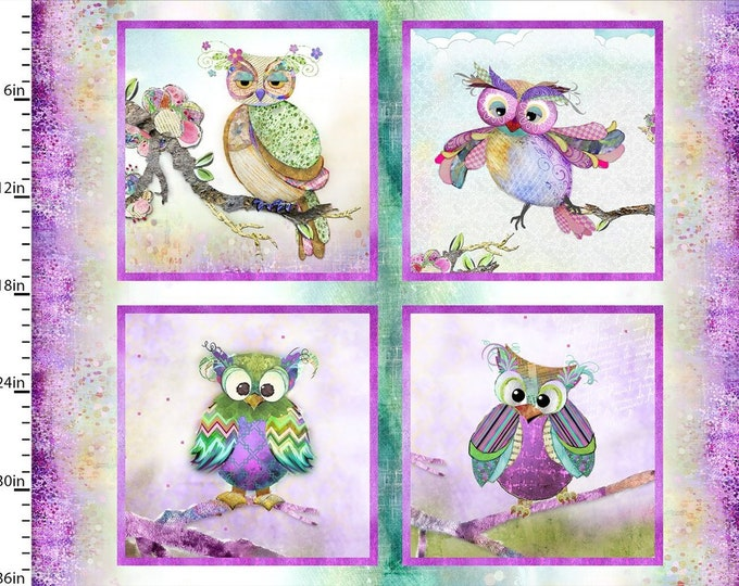 """36"""" Panel 13783-Multi Connie Haley - Boho Owls - Digitally Printed - Cotton Woven Fabric - 3 Wishes Fabric 13789-White"""