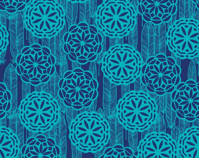 Pachua Dreamcatcher and Medallions on Teal cotton fabric