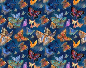 3 Wishes Fabric - Ray of Hope by Josephine Wall - Butterfly Digitally Printed # 16048-MUL - Cotton Woven Fabric