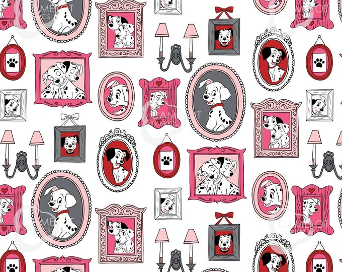 Camelot - Licensed 101 Dalmatians Family Portraits - Family Frames in White #85010203-2 Cotton Woven Fabric